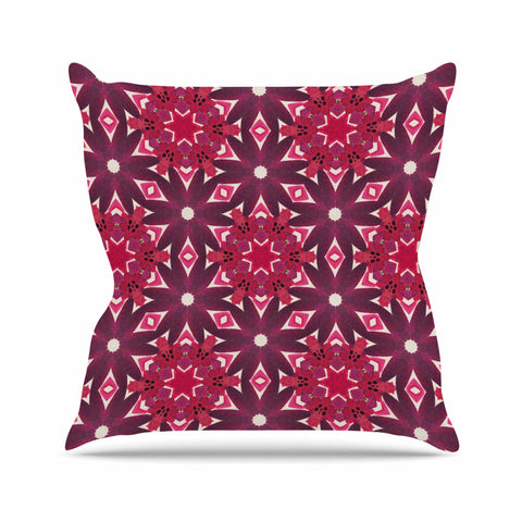 "Laura Nicholson ""Blooming Echinacea "" Magenta Floral Throw Pillow - KESS InHouse  - 1"