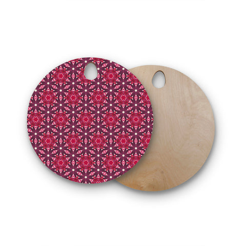 "Laura Nicholson ""Blooming Echinacea"" Magenta Floral Round Wooden Cutting Board"