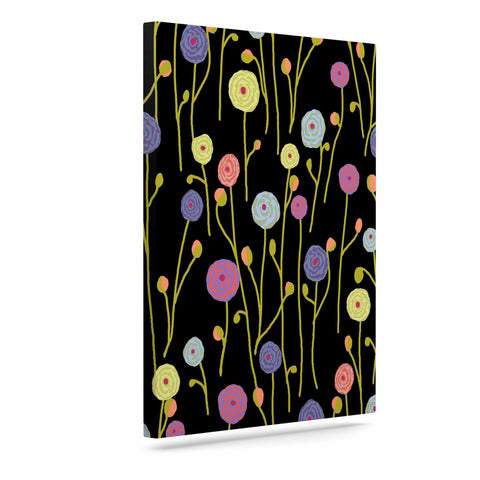 "Laura Nicholson ""Ranunculas On Black"" Yellow Floral Canvas Art - KESS InHouse  - 1"