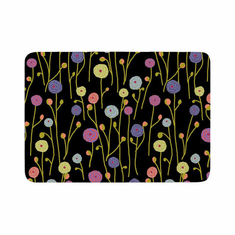 "Laura Nicholson ""Ranunculas On Black"" Yellow Floral Memory Foam Bath Mat - KESS InHouse"