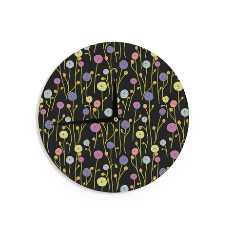 "Laura Nicholson ""Ranunculas On Black"" Yellow Floral Wall Clock - KESS InHouse"