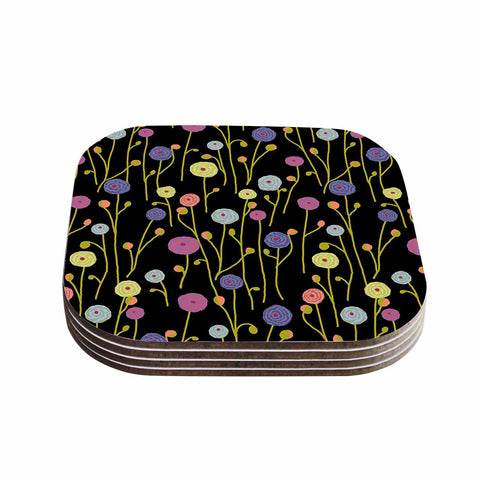 "Laura Nicholson ""Ranunculas On Black"" Yellow Floral Coasters (Set of 4)"