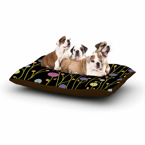 "Laura Nicholson ""Ranunculas On Black"" Yellow Floral Dog Bed - KESS InHouse  - 1"