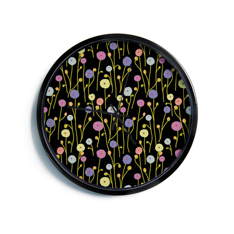 "Laura Nicholson ""Ranunculas On Black"" Yellow Floral Modern Wall Clock"