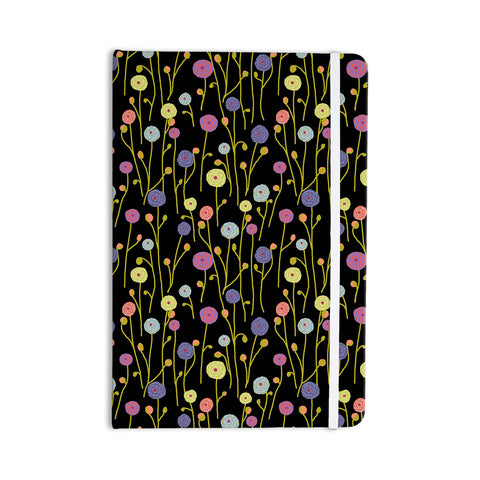 "Laura Nicholson ""Ranunculas On Black"" Yellow Floral Everything Notebook - KESS InHouse  - 1"
