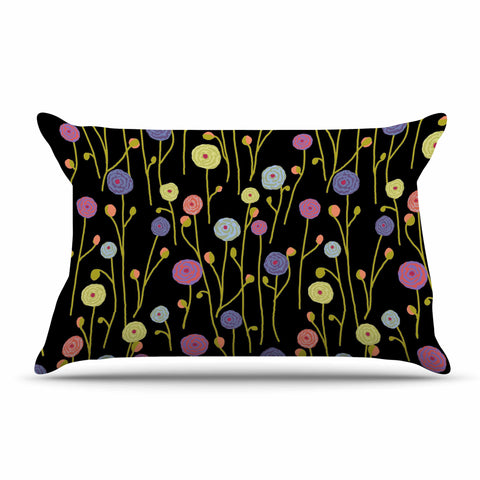 "Laura Nicholson ""Ranunculas On Black"" Yellow Floral Pillow Sham - KESS InHouse  - 1"