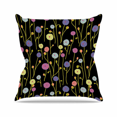 "Laura Nicholson ""Ranunculas On Black"" Yellow Floral Outdoor Throw Pillow - KESS InHouse  - 1"