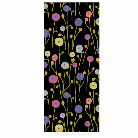 "Laura Nicholson ""Ranunculas On Black"" Yellow Floral Luxe Rectangle Panel - KESS InHouse  - 1"