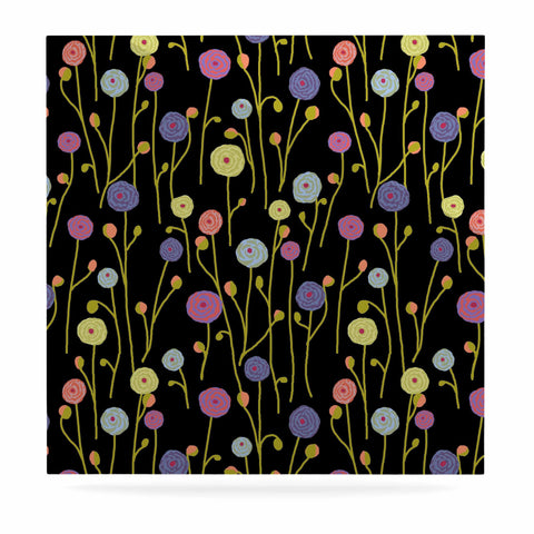 "Laura Nicholson ""Ranunculas On Black"" Yellow Floral Luxe Square Panel - KESS InHouse  - 1"