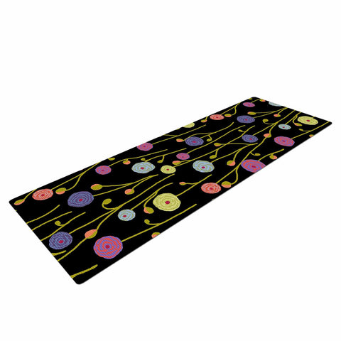 "Laura Nicholson ""Ranunculas On Black"" Yellow Floral Yoga Mat - KESS InHouse  - 1"