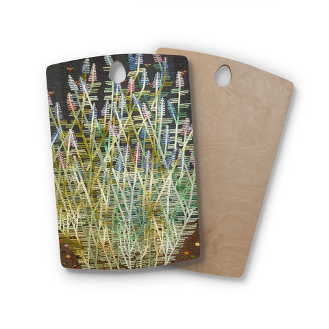 "Laura Nicholson ""Russian Sage"" Rectangle Wooden Cutting Board"