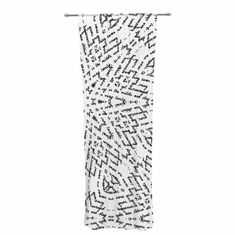 "Laura Nicholson ""Letter Of Advice "" Black White Decorative Sheer Curtain - KESS InHouse  - 1"