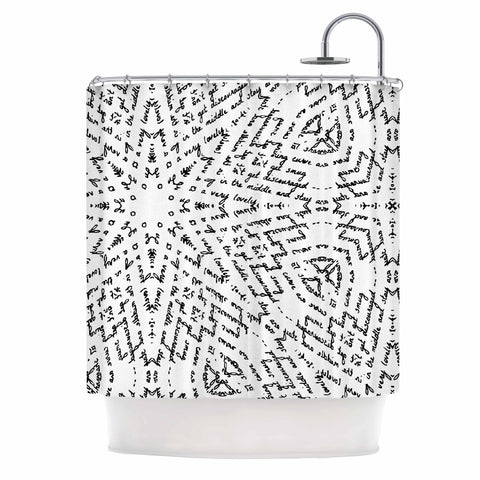 "Laura Nicholson ""Letter Of Advice "" Black White Shower Curtain - KESS InHouse"