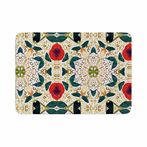 "Laura Nicholson ""Persimmons And Peaches"" Red Abstract Memory Foam Bath Mat - KESS InHouse"
