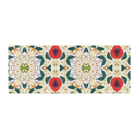 "Laura Nicholson ""Persimmons And Peaches"" Red Abstract Bed Runner - KESS InHouse"