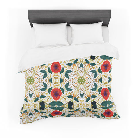 "Laura Nicholson ""Persimmons And Peaches"" Red Abstract Featherweight Duvet Cover"