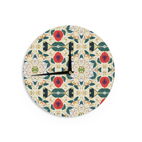 "Laura Nicholson ""Persimmons And Peaches"" Red Abstract Wall Clock - KESS InHouse"