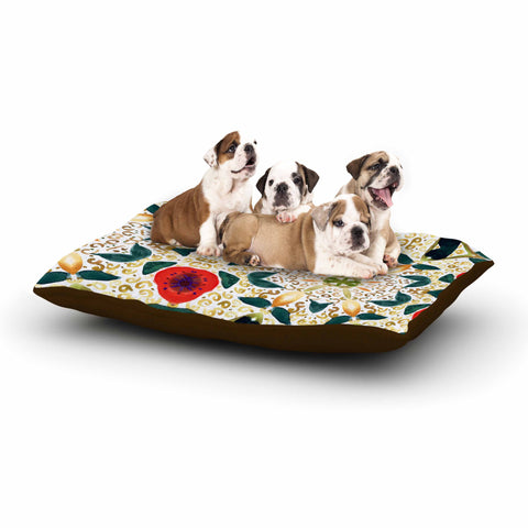 "Laura Nicholson ""Persimmons And Peaches"" Red Abstract Dog Bed - KESS InHouse  - 1"