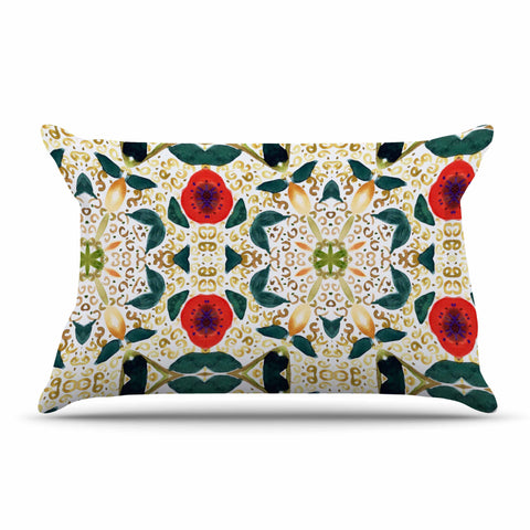 "Laura Nicholson ""Persimmons And Peaches"" Red Abstract Pillow Sham - KESS InHouse  - 1"