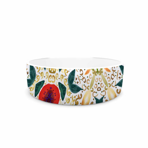 "Laura Nicholson ""Persimmons And Peaches"" Red Abstract Pet Bowl - KESS InHouse"