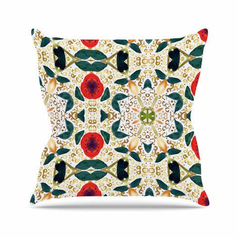 "Laura Nicholson ""Persimmons And Peaches"" Red Abstract Outdoor Throw Pillow - KESS InHouse  - 1"