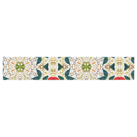 "Laura Nicholson ""Persimmons And Peaches"" Red Abstract Table Runner - KESS InHouse  - 1"