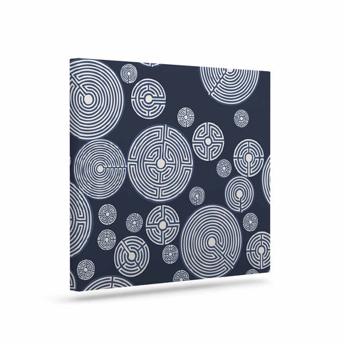 "Laura Nicholson ""Indigo Labyrinths"" Blue White Canvas Art - KESS InHouse  - 1"