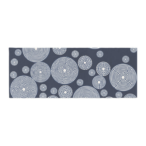 "Laura Nicholson ""Indigo Labyrinths"" Blue White Bed Runner - KESS InHouse"