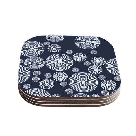 "Laura Nicholson ""Indigo Labyrinths"" Blue White Coasters (Set of 4)"