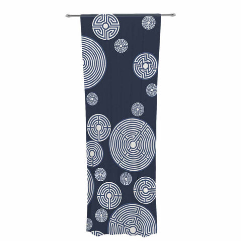 "Laura Nicholson ""Indigo Labyrinths"" Blue White Decorative Sheer Curtain - KESS InHouse  - 1"