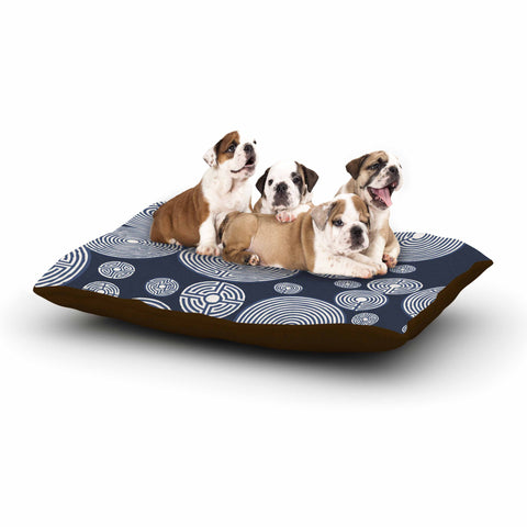 "Laura Nicholson ""Indigo Labyrinths"" Blue White Dog Bed - KESS InHouse  - 1"