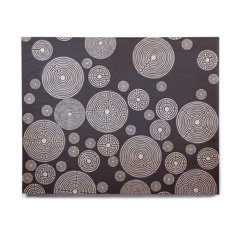 "Laura Nicholson ""Indigo Labyrinths"" Blue White Birchwood Wall Art - KESS InHouse  - 1"