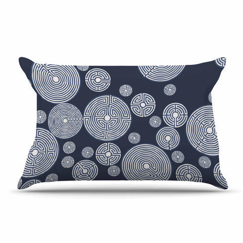 "Laura Nicholson ""Indigo Labyrinths"" Blue White Pillow Sham - KESS InHouse  - 1"