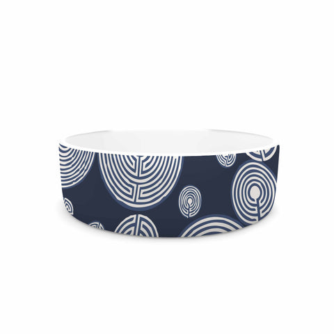 "Laura Nicholson ""Indigo Labyrinths"" Blue White Pet Bowl - KESS InHouse"
