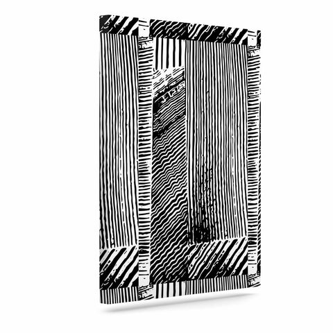 "Laura Nicholson ""Wood Blox"" Black White Illustration Canvas Art"