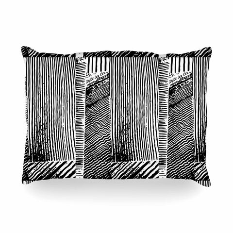 "Laura Nicholson ""Wood Blox"" Black White Illustration Oblong Pillow"