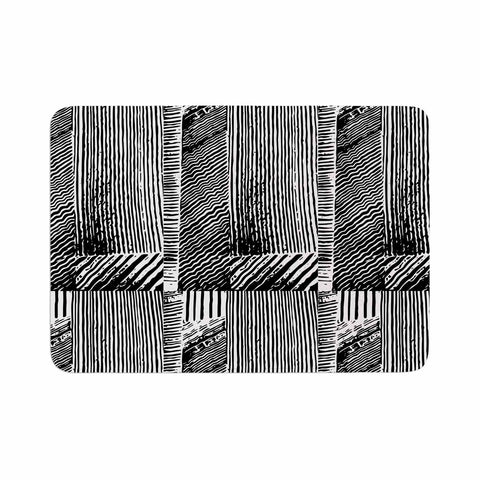 "Laura Nicholson ""Wood Blox"" Black White Illustration Memory Foam Bath Mat"
