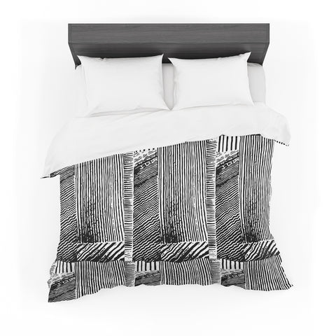 "Laura Nicholson ""Wood Blox"" Black White Illustration Featherweight Duvet Cover"