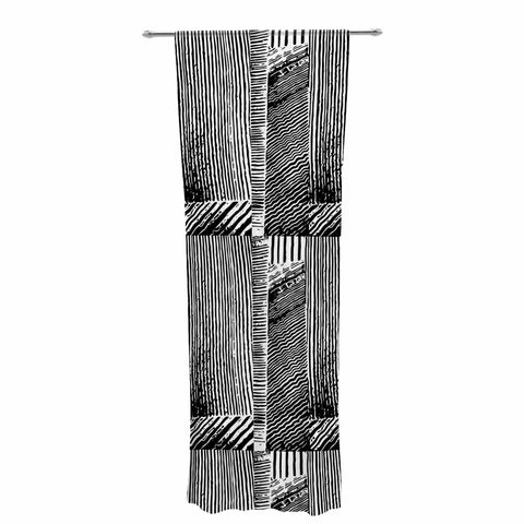 "Laura Nicholson ""Wood Blox"" Black White Illustration Decorative Sheer Curtain"
