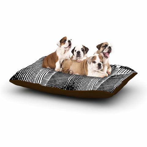 "Laura Nicholson ""Wood Blox"" Black White Illustration Dog Bed"