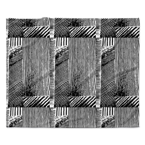 "Laura Nicholson ""Wood Blox"" Black White Illustration Fleece Throw Blanket"