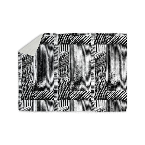 "Laura Nicholson ""Wood Blox"" Black White Illustration Sherpa Blanket"