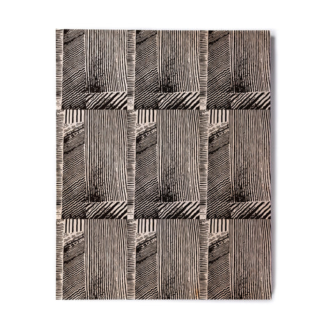 "Laura Nicholson ""Wood Blox"" Black White Illustration Birchwood Wall Art"