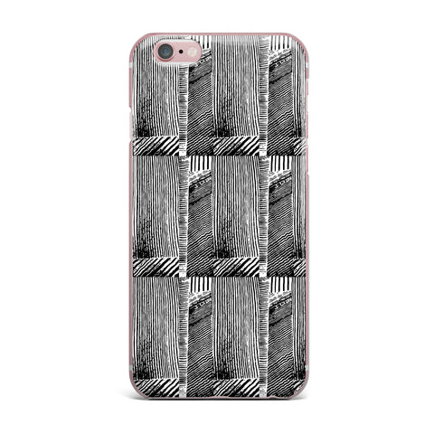 "Laura Nicholson ""Wood Blox"" Black White Illustration iPhone Case"