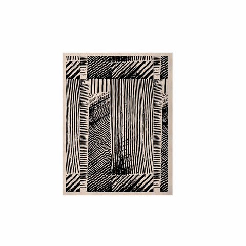 "Laura Nicholson ""Wood Blox"" Black White Illustration KESS Naturals Canvas (Frame not Included)"