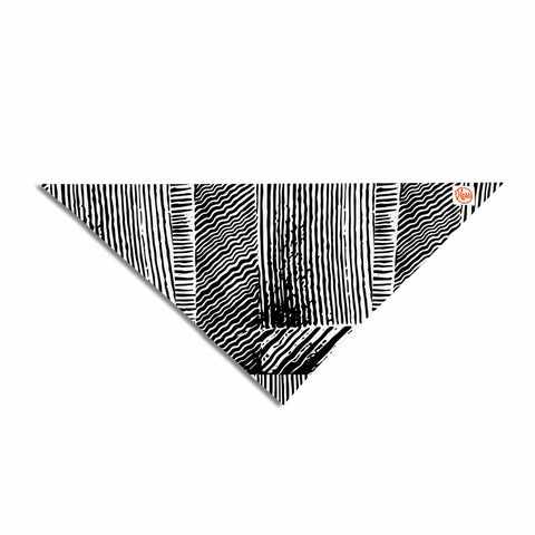 "Laura Nicholson ""Wood Blox"" Black White Illustration Pet Bandana"