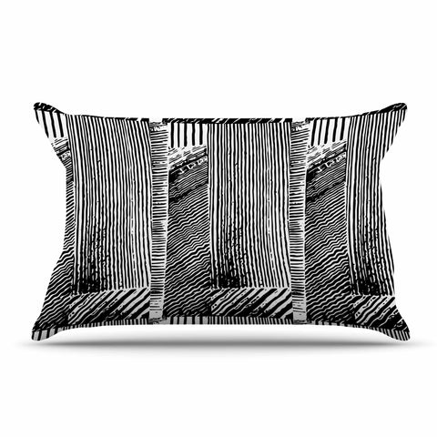 "Laura Nicholson ""Wood Blox"" Black White Illustration Pillow Sham"