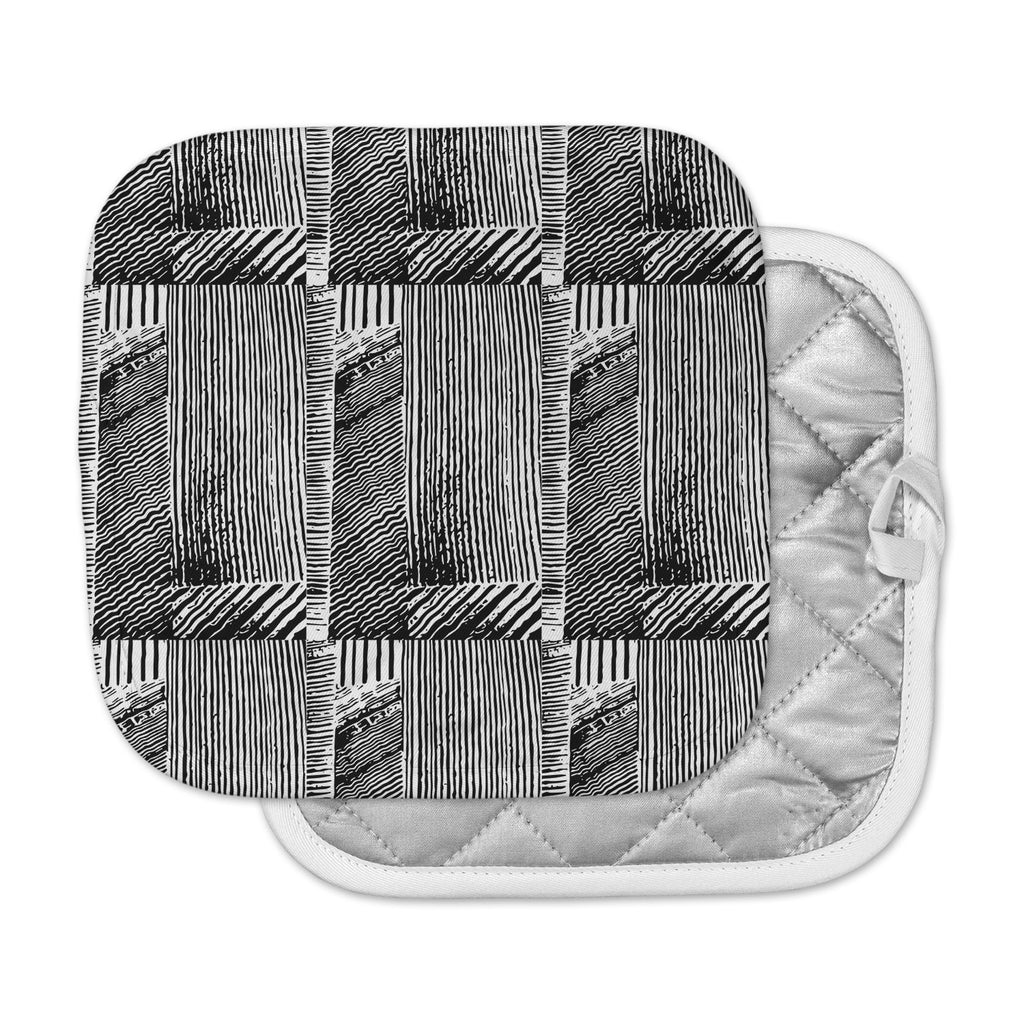 "Laura Nicholson ""Wood Blox"" Black White Illustration Pot Holder"