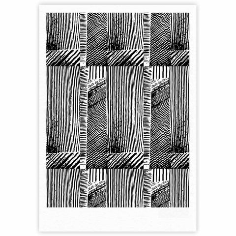 "Laura Nicholson ""Wood Blox"" Black White Illustration Fine Art Gallery Print"