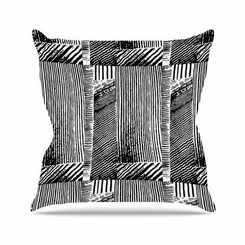 "Laura Nicholson ""Wood Blox"" Black White Illustration Outdoor Throw Pillow"